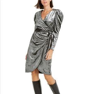 Brand New Velvet Puff Sleeve Dress M Silver